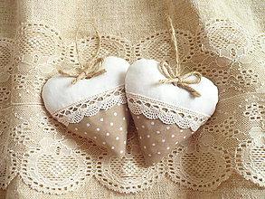 Darčeky pre svadobčanov - Svadobné srdiečka ,hnedá s krémovou - 11010056_