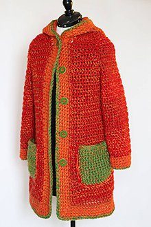 Svetre/Pulóvre - Háčkovaný kabátik oranžovo - červeno - zelený - 11009287_
