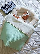 Textil - Hniezdo pre bábätko z vafle bavny v mint farbe - 11011603_