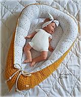 Textil - Hniezdo pre bábätko z vafle bavny v horčicovej farbe - 11011709_