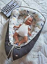 Textil - hniezdo pre bábätko z vafle bavny v sivej farbe - 11011759_