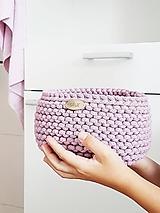 Košíky - Pletený košík - ružový II - 11010693_