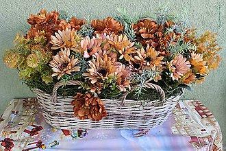 Dekorácie - farby jesene_dekorácia v prútenom košíku - 11011162_