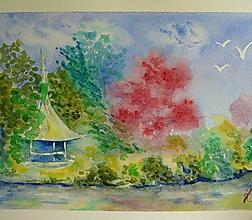 Obrazy - Lednice, altánok - akvarel - 11010892_