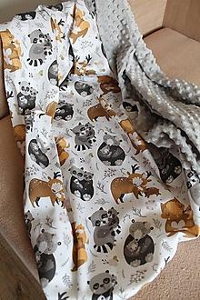 Textil - Minky deka Lení priatelia, viac farieb na výber, 100x70cm - 11010075_