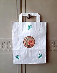 Papiernictvo - darčeková taška ružička - 11011629_