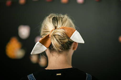 Ozdoby do vlasov - Ľanová scrunchie - gumka Líška - 11009808_