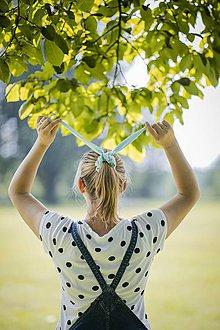 Ozdoby do vlasov - Scrunchie Gumka - modrý uškáčik - 11009872_