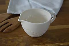 Nádoby - Madeirový porcelánový mliečnik vzor vlnky - 11011062_