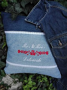 Úžitkový textil - Vankúš pre novomanželov - DARČEK z recy rifľoviny - 11009509_