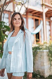 Kabáty - Pruhované sako bledomodré (38 modrá) - 11009086_