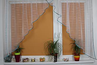 Úžitkový textil - Záclona Tyrkys (2-trojuholník) - 11008968_