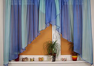 Úžitkový textil - Záclona modrá Dúha (2-trojuholník) - 11008969_