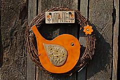 Dekorácie - Vtáčik vo veľkom venčeku č.28 - 11010753_