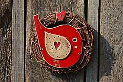 Dekorácie - Vtáčik vo venčeku č. 99 - 11010788_