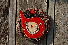 Dekorácie - Vtáčik vo venčeku č. 100 - 11010792_