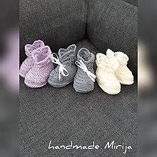 Topánočky - Hačkované papučky (6 - 9 mesiacov - Šedá) - 11012719_