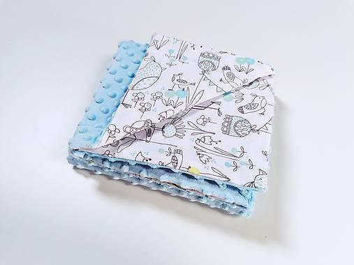 Minky modrá deka + Birds 70*100cm