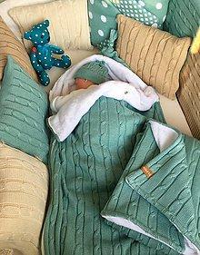 """Textil - Fusak,teplá deka,tenká deka a vankúšik, """"Vrkoč"""", OEKO-TEX® - nefrit/biela - 11014467_"""