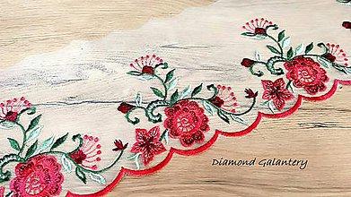 Galantéria -  Čipka 118 mm - Kvety červené - cena za 10 centimetrov - 11014347_