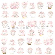 Papier - Vzorovaný papier A. Renke Šálky s ružami - 11013346_