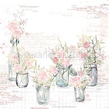 Papier - Vzorovaný papier A. Renke Vázy s ružami - 11013376_