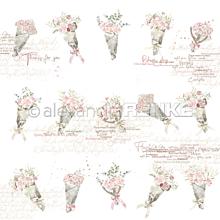 Papier - Vzorovaný papier A. Renke Kytice ruží - 11013380_