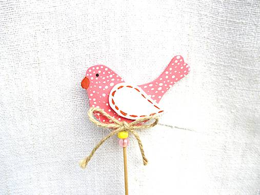 Dekorácie - Vtáčik zápich ♡ (Ružová) - 11012597_
