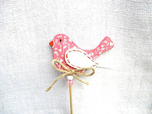 Dekorácie - Vtáčik zápich ♡ (Ružová) - 11012604_