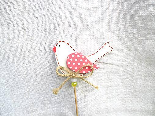 Dekorácie - Vtáčik zápich ♡ (Biela) - 11012615_