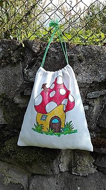 Detské tašky - Idem do škôlky_maľované ľanové vrecko na papučky, pyžamko a tajomstvá...muchotrávka - 11013284_