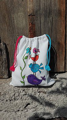 Detské tašky - Idem do škôlky_maľované ľanové vrecko na papučky, pyžamko a tajomstvá...vtáčiky - 11013302_