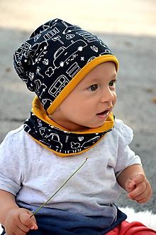Detské súpravy - Bavlnený set obojstranný Autíčka /horčicová - 11014432_