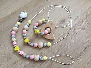 "Detské doplnky - Set hryzátko + retiazka na cumlík + náhrdelník ""Marble Pastel"" - 11013203_"