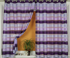 Úžitkový textil - Záclona vo fialovom pruhovanom pyžamku - 11011873_