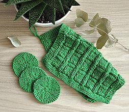 Úžitkový textil - Pletený ručník a tampóniky - zelená - 11012825_