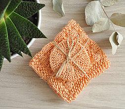 Úžitkový textil - Pletený ručník a tampóniky - broskyňová - 11013081_