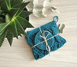 Úžitkový textil - Pletený ručník a tampóniky - petrolejová - 11013097_