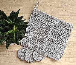 Úžitkový textil - Pletený ručník a tampóniky - sivý - 11013134_