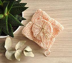 Úžitkový textil - Pletený ručník a tampóniky - ružová - 11013145_