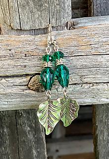 Náušnice - Lístkové smaragdovozelené - náušnice  - 11013459_