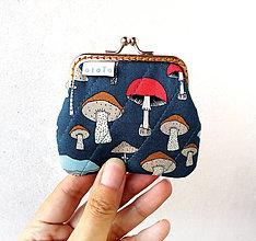 Peňaženky - Peňaženka mini  Hríbiky (Modrá) - 11013668_