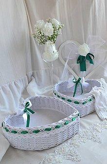Košíky - Svadobné srdce SMARAGD / ks - 11012416_