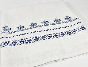 Úžitkový textil - Ľanová prikrývka -  modrá folk vyšívaná - 11012569_