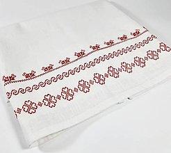 Úžitkový textil - Ľanová prikrývka -  červená folk vyšívaná - 11012587_