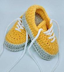 Topánočky - Háčkované tenisky (Žltá) - 11015210_