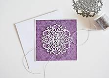 Papiernictvo - Gratulačný pozdrav - ornament na fialovej - 11016174_