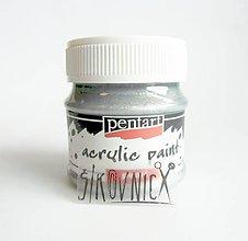Farby-laky - Akrylová farba 50 ml, Pentart - perleťová, strieborná - 11014942_