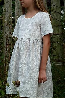 Detské oblečenie - Šatočky Paprade smotanovošedé s rukávmi - 11016509_