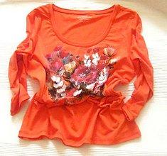 Tričká - Oranžové s kvetmi - 11015081_